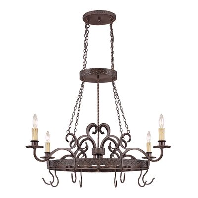 Jeremiah Brookshire Manor Pot Rack with 4 Light Pendant