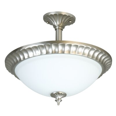 Premier Round Flute Frost 3 Light Semi Flush Mount
