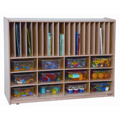 Wood Designs Tip-Me-Not Portfolio Storage Center 32 Compartment Cubby