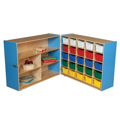 Wood Designs Tray and Shelf Fold Storage Unit with 25 Assorted Trays