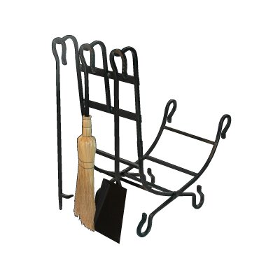 4 Piece Wrought Iron Fireplace Tool Set with Log Holder