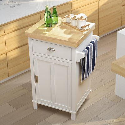 Bard Kitchen Cart with Rubberwood Top