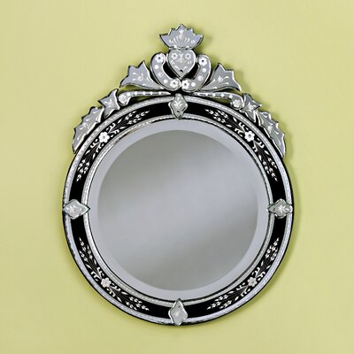 Venetian Gems Round Venetian Wall Mirror in Black