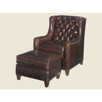 Gibson Leather Chair and Ottoman