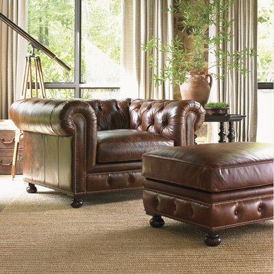 Lexington Images of Courtrai Belfort Leather Chair and Ottoman