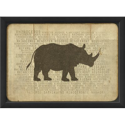 Blueprint Artwork Rhino Silhouette Wall Art