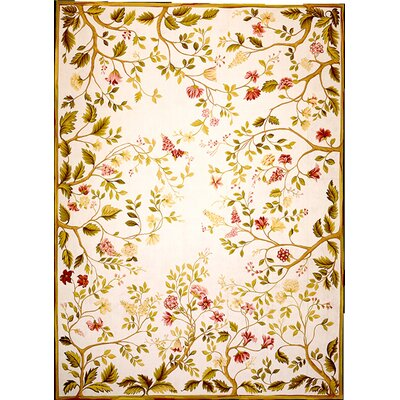Asmara, Inc. Classic Needlepoint Summer Yellow / Green Flowers Rug