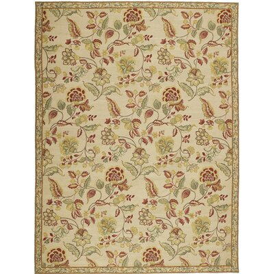 Athene Needlepoint Kirov Gold / Cream Flowers Rug