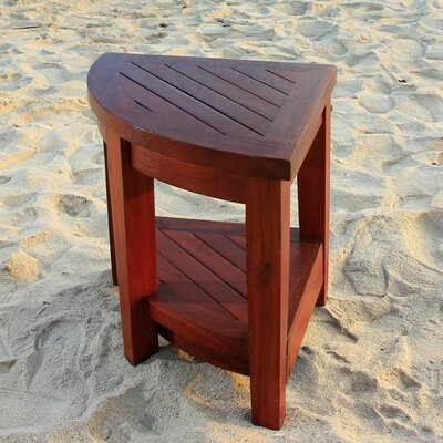 Decoteak Classic Teak Outdoor Corner Shelf or Teak Small Corner Table