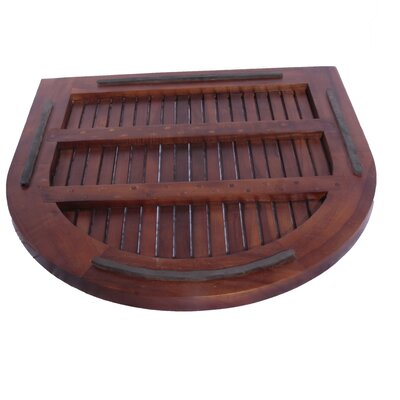 Decoteak Classic Spa Oval Semicircle Teak Shower and Floor Mat