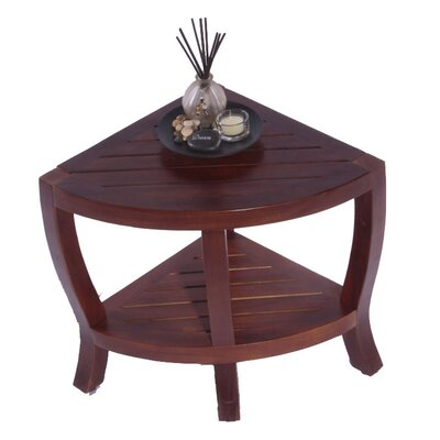 Decoteak Contemporary Teak Corner Indoor Outdoor Stool Table or Shelf