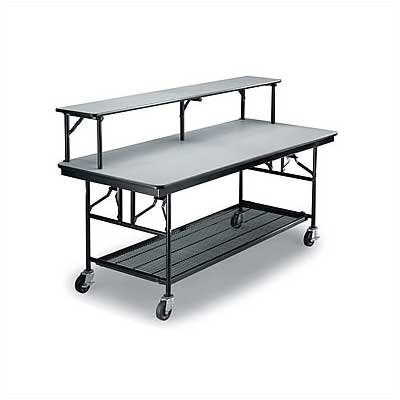 Midwest Folding Products Mobile Bar/Buffet Unit with Riser Shelf, Laminate Top