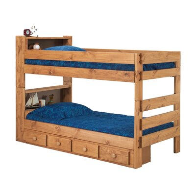 Chelsea Home Twin Over Twin Standard Bunk Bed with Bookcase and Storage