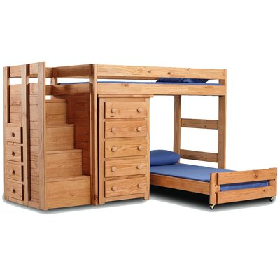 Twin Over Twin L Shaped Bunk Bed With 5 Drawer Chest And