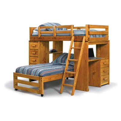 Twin over Twin L Shaped Bunk Bed with Desk End