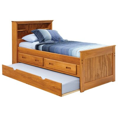 Twin Captain Bed With Bookcase Storage And Trundle Unit