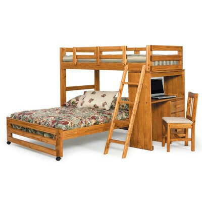 Twin over Full L Shaped Bunk Bed with Desk End
