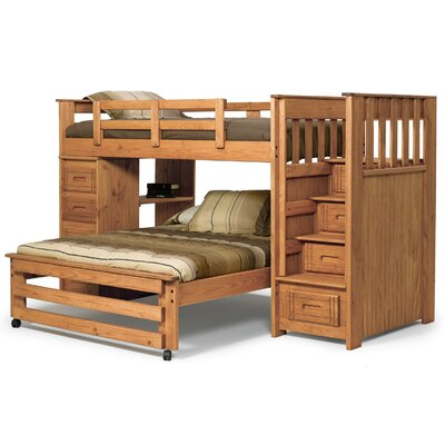 Chelsea Home Twin over Full L-Shaped Bunk Bed with Stairway and 4 ...