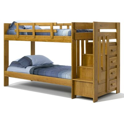 Chelsea Home Twin over Twin Standard Bunk with Reversible Stairway Chest