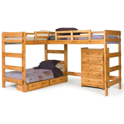 L-Shaped Loft Bed with Underbed Storage