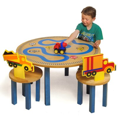 Room Magic Boys Like Trucks Kids' 3 Piece Table and Chair Set