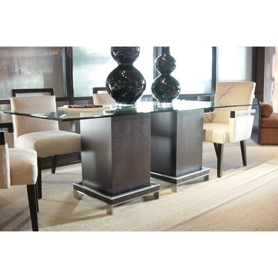 "Allan Copley Designs Force 3 Piece 84"" Rectangle Glass Top Dining Set"