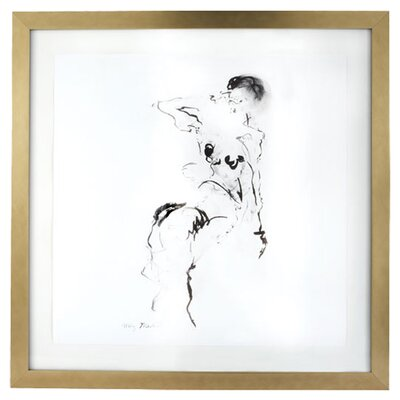 <strong>Lazy Susan USA</strong> Charcoal and Ink Nude with Leaf Frame