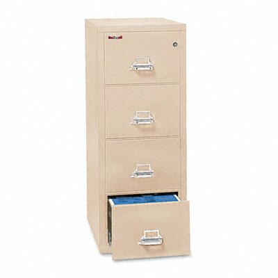 "Fire King 4-Drawer Vertical File, 17.75"" W x 25"" D, Ul Listed 350, Letter"