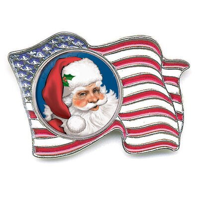 American Coin Treasures Santa Colorized Quarter Flag Pin