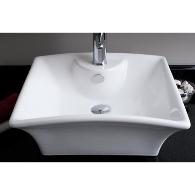 Rectangular Single Hole Vessel Bathroom Sink - IMG-W209