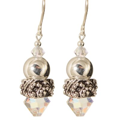 Onida Crystal Sterling Silver Earrings