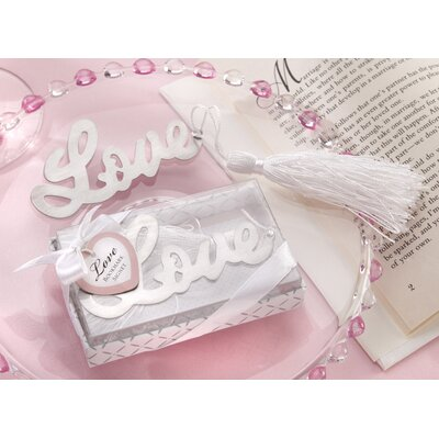 Kate Aspen ''Words of Love'' Bookmark with Elegant White-Silk Tassel