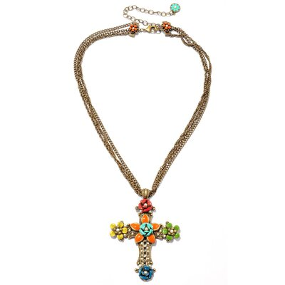 Sweet Romance Metal RetroMEX Floral Cross Pearl and Crystal Necklace
