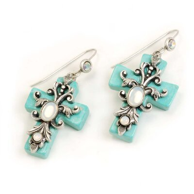 Sweet Romance Turquoise Crosses Earrings