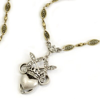 Sweet Romance Swarovski Crystal Sacred Heart and Crown Necklace
