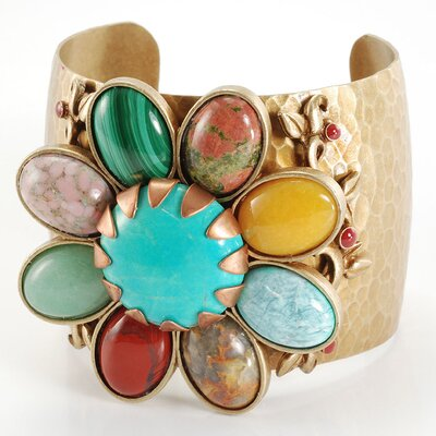 Southwest Flower Gemstone Cuff Bracelet