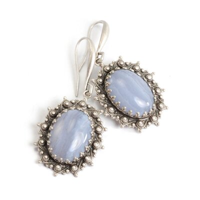 Oval Cut Glass Drop Earrings