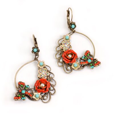 Dragonfly and Flower Drop Earrings