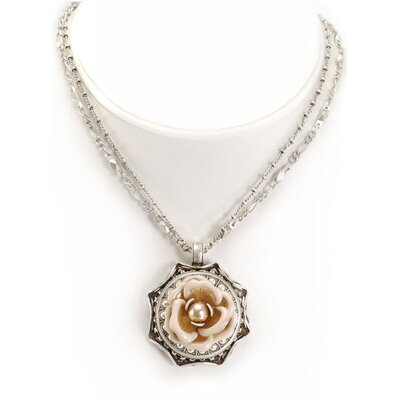 Shabby Rose and Pearl Necklace