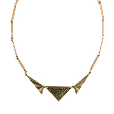 Brass Vintage Deco Etched Necklace