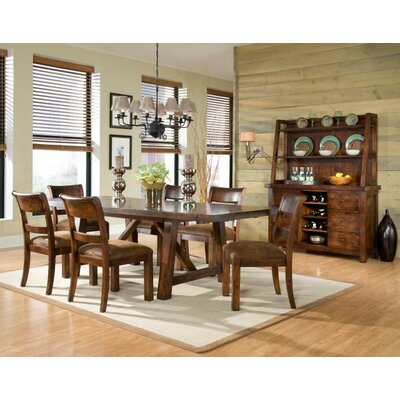 Woodland Ridge Rectangular Trestle Pub Table in Distressed Aged Amber