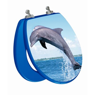 Topseat 3D Ocean Series Dolphin Jumping to The Left Round Toilet Seat