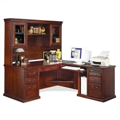 kathy ireland Home by Martin Furniture Huntington Club L-Shaped Desk and Hutch