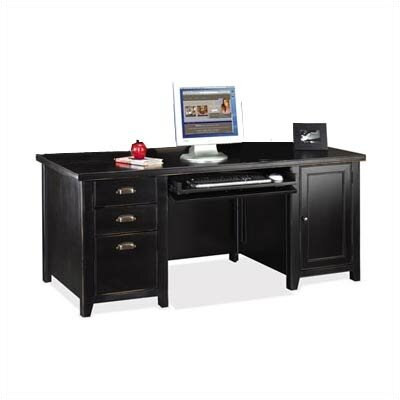 kathy ireland Home by Martin Furniture Tribeca Loft Black Double Pedestal Computer Desk