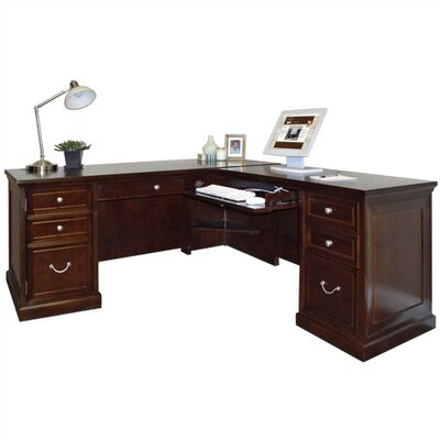 kathy ireland Home by Martin Furniture Fulton Double Pedestal L-Shaped Computer Desk