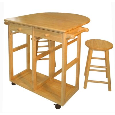 Natural wood kitchen island set stool wheels rolling for Casual home kitchen island