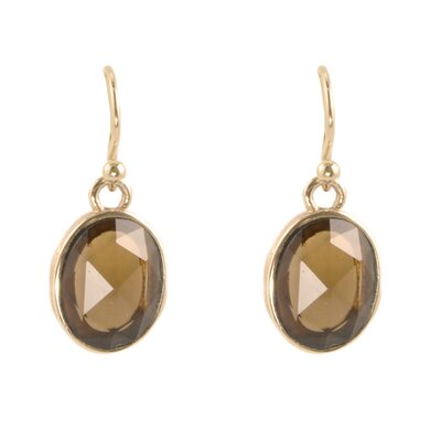 Enchanted Oval Cut Smoky Quartz Drop Earrings