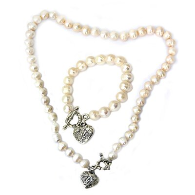 Cultured Pearl Heart Charm Necklace and Bracelet Set