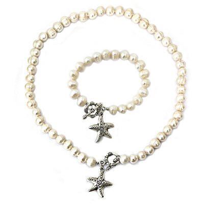 Cultured Pearl Starfish Charm Necklace and Bracelet Set