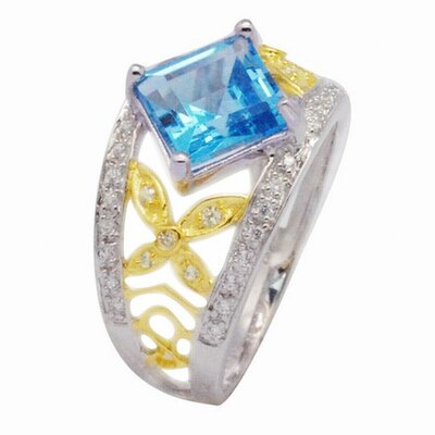 DeBuman 18K Gold and Silver Princess Cut Sapphire and Cubic Zirconia Ring